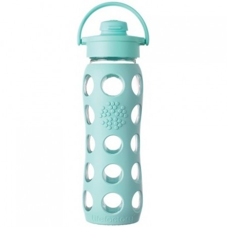 Lifefactory Glass Water Bottle flip-top 22oz 650ml - Turquoise