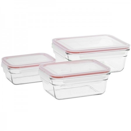 Glasslock Oven Safe Container Set 3 Piece Red