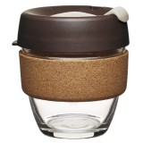 KeepCup small glass cup cork band 8oz (227ml) - almond