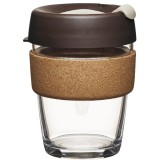 KeepCup medium glass cup cork band 12oz (340ml) - almond