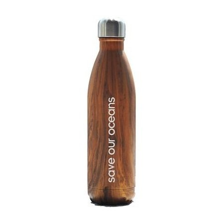 BBBYO Stainless Steel Water Bottle 500ml - Woodgrain