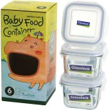 Glasslock 3 Piece Baby Set Square 210ml