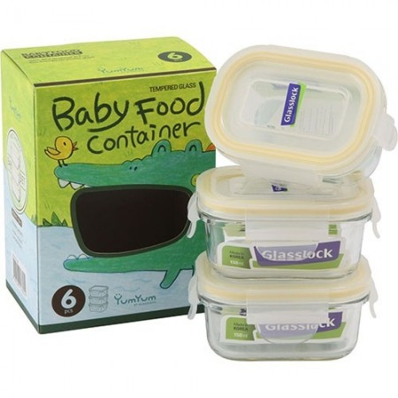 Glasslock 3 Piece Baby Set Rectangle 150ml