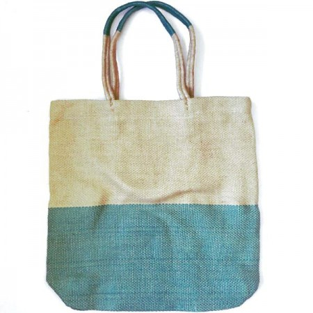 Jute Carry All Shopping Bag - Turquoise & Natural