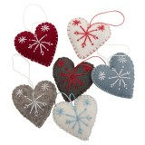 Fairtrade Felt Christmas Decorations - Heart with Snowflake