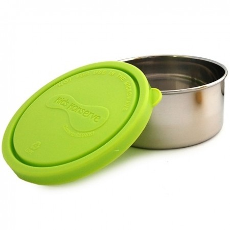 Kids Konserve 9oz 266ml round stainless steel container - lime