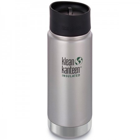 Klean Kanteen Wide Insulated Bottle 16oz 473ml - Brushed Steel Cafe Cap