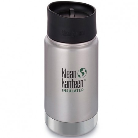Klean Kanteen Wide Insulated Bottle 12oz 355ml - Brushed Stainless with Cafe Cap