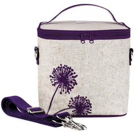 SoYoung Large Insulated Cooler Bag - Purple Dandelion Raw Linen