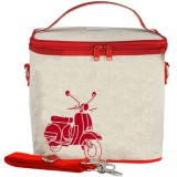 SoYoung Small Raw Linen Insulated Cooler Bag - Red Scooter