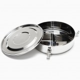 Onyx stainless steel airtight round container 18cm with dividers