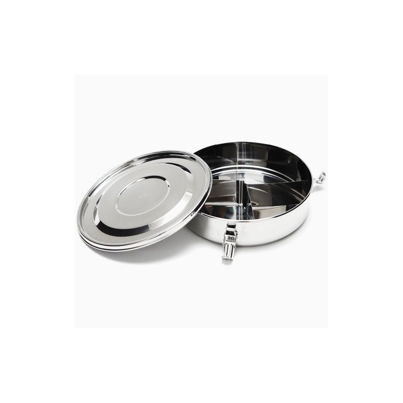 Onyx Stainless Steel Airtight Round/Flat Container 18cm (w Dividers)