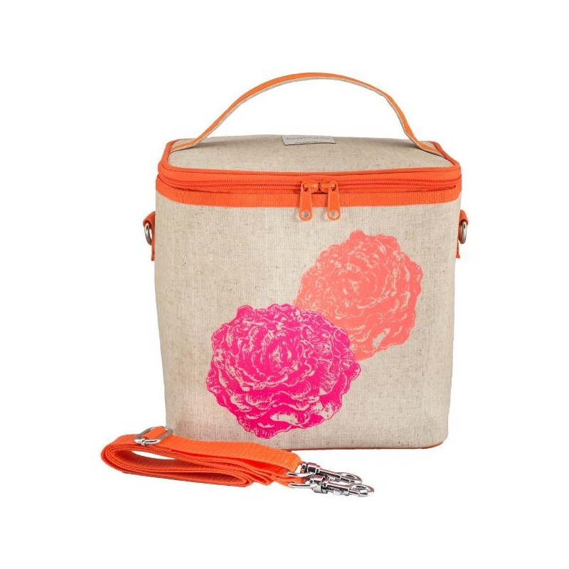 SoYoung Large Raw Linen Insulated Cooler Bag - Orange Pink Peonies