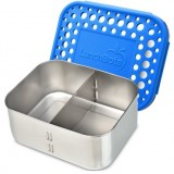 LunchBots Stainless Steel Adjustable Food Container 940ml - Duo Royal Blue Dots
