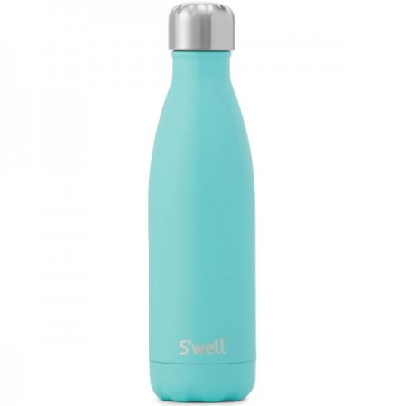 S'well insulated stainless steel Water Bottle 500ml - turquoise blue (silver lid)