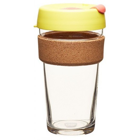 KeepCup Large Glass Cup Cork Band 16oz (454ml) - Saffron