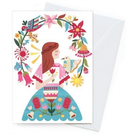Earth Greetings Card - Flowering Arbor Girl