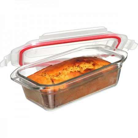 Glasslock Oven Safe Loaf Baker Container 1750ml - Rectangle Red