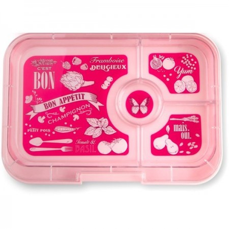 YumBox Tapas 4 Section Interchangable Tray - Hot Pink