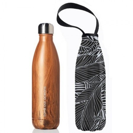BBBYO Stainless Steel Water Bottle with Cover 750ml - Wood Leaf