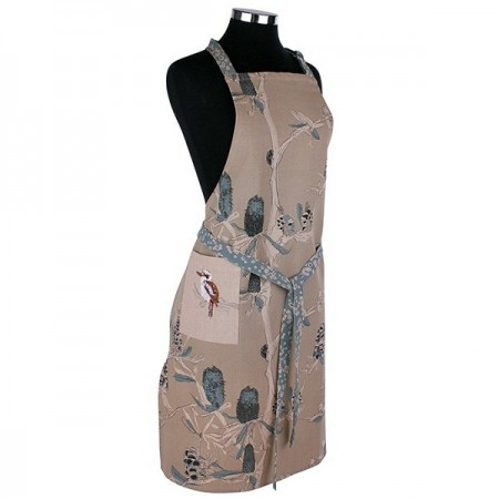 The Linen Press Organic Cotton Apron - Kookaburra & Banksia