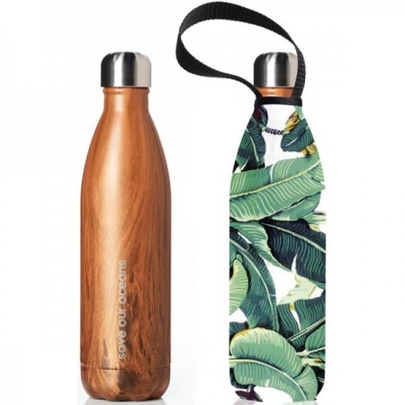 BBBYO Stainless Steel Water Bottle with Cover 750ml - Banana Leaf