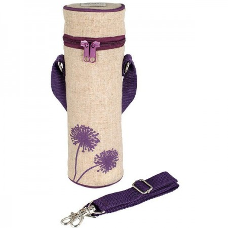 SoYoung Insulated Raw Linen Bottle Bag - Purple Dandelion