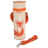 SoYoung Insulated Raw Linen Bottle Bag - Orange Fox