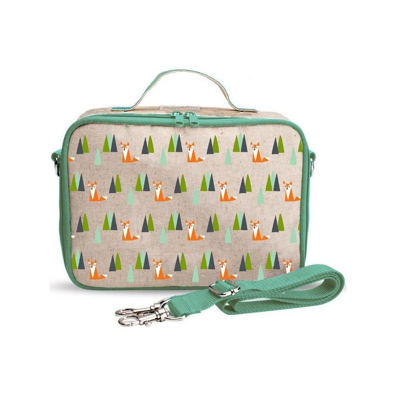 SoYoung Raw Linen Insulated Lunch Box - Olive Fox