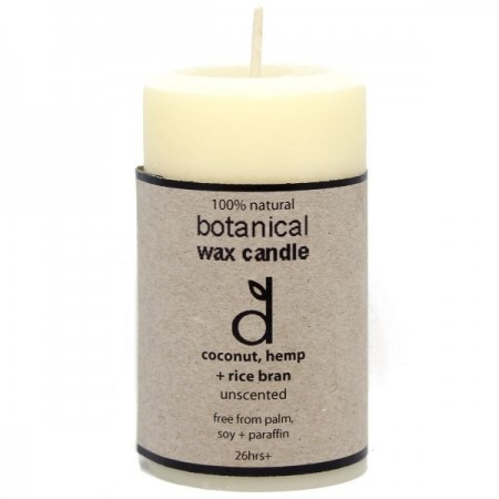 Dindi Botanical Wax Candle Coconut Hemp Rice Bran Unscented