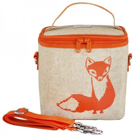SoYoung Small Raw Linen Insulated Cooler Bag - Orange Fox