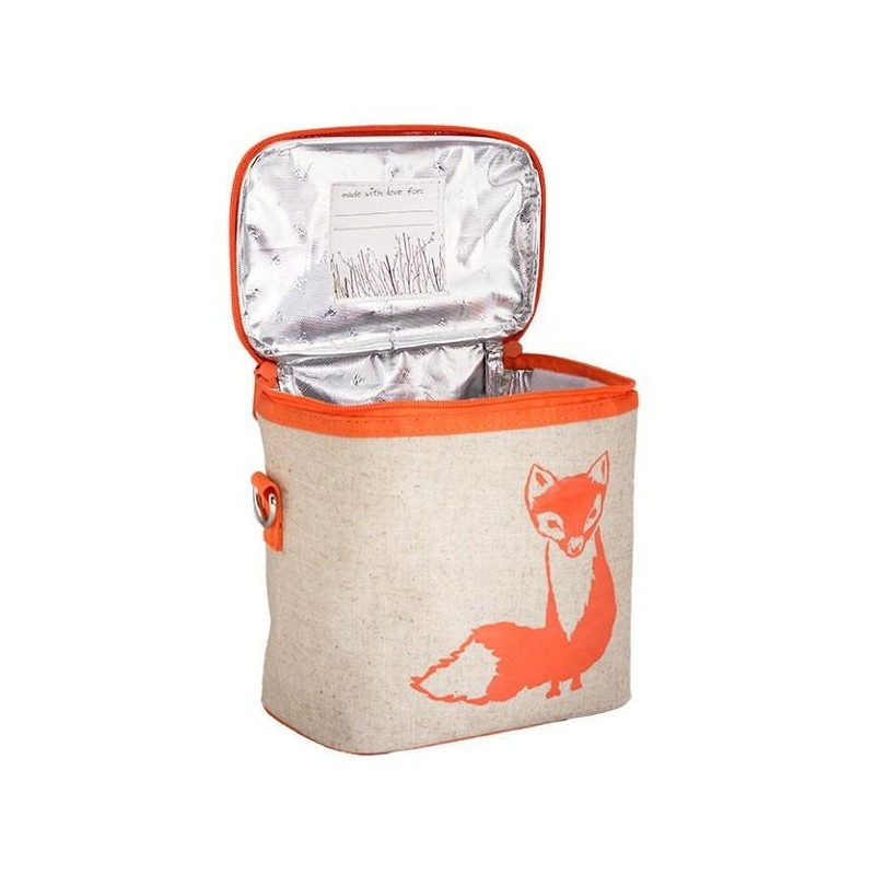Soyoung Small Raw Linen Insulated Cooler Bag Orange Fox