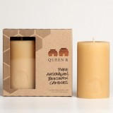 Queen B Beeswax Candle - 8cm solid pillar 2pk