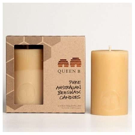 Queen B Beeswax Candle - 8cm solid pillar 2pk - Biome Eco Stores