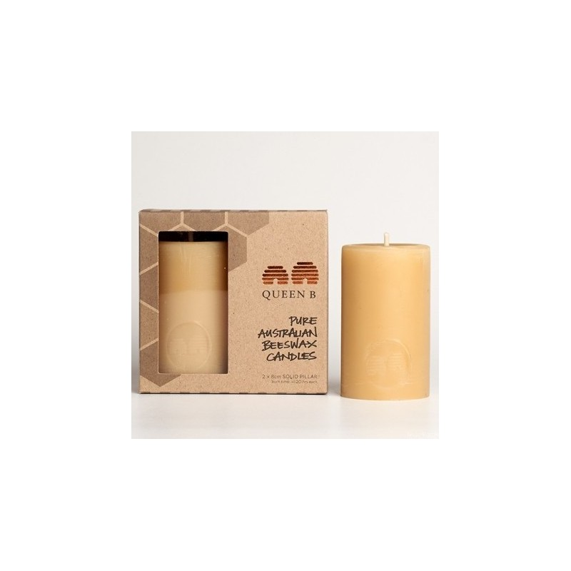 Queen B Beeswax Solid Pillar Candle 2pk - 8cm/20hr Burn Time