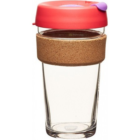 KeepCup Large Glass Cup Cork Band 16oz (454ml) - Sumac