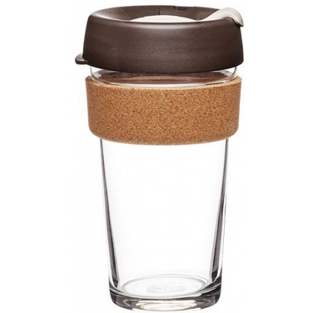 KeepCup Large Glass Cup Cork Band 16oz (454ml) - Almond