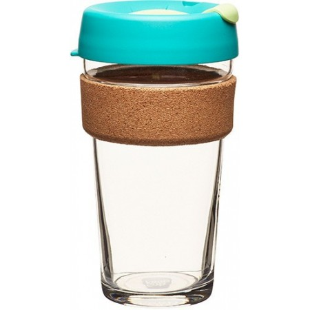KeepCup Large Glass Cup Cork Band 16oz (454ml) - Thyme