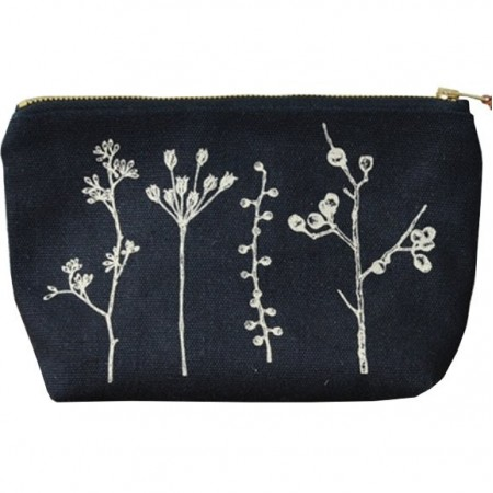 One Thousand Lines Flat Bottom Pouch - Black/Botanica