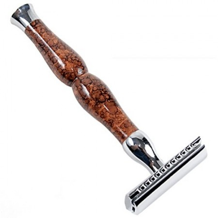 Parker 45R Safety Razor - Brown Marble + Chrome Set of Blades