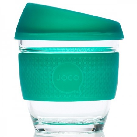 JOCO Small Glass Coffee Cup 235ml 8oz - Seaglass Deep Teal