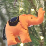 Fair Trade Upcycled Fabric Christmas Decoration - Elephant