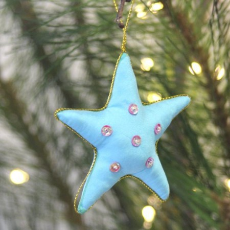 Fair Trade Upcycled Fabric Christmas Decoration - Star