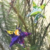 Fair Trade Sari Fabric Star Christmas Decoration (1)