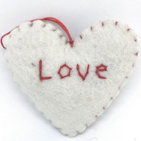 Fairtrade Felt Christmas Decoration - Hearts with Affirmations