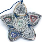 Fair Trade Recycled Paper Star Christmas Decoration (1)