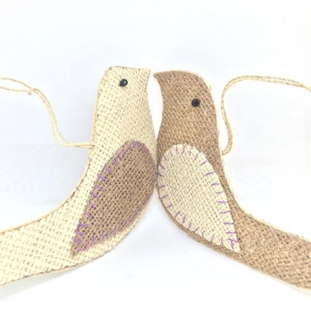 Jute Dove Christmas Decorations - Set of 2