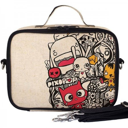 SoYoung Insulated Raw Linen Lunch Box - Pixopop Pishi LAST CHANCE!