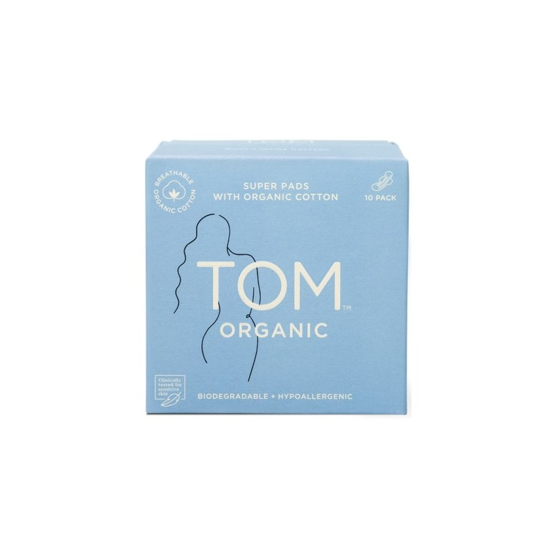 Tom Organic Cotton Pads with Wings 10pk - Super