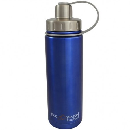 EcoVessel Boulder Insulated Bottle 600ml - Blue Glow